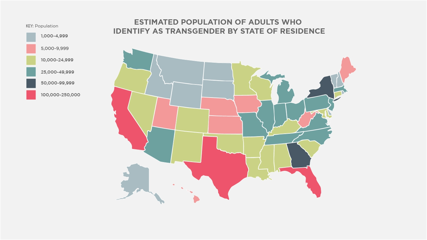 Estimated Population of Adults Who Identify as Transgender by State